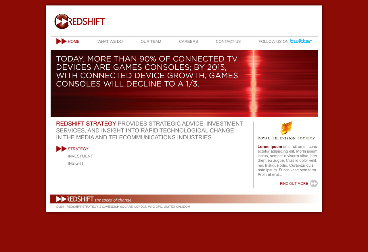 Redshift Homepage Design