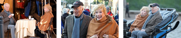 Shirley MacLaine and Christopher Plummer, filming Elsa & Fred